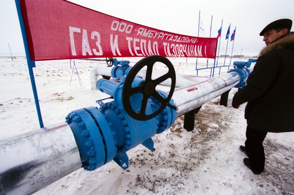 YAMBURG, RUSSIA - A pipeline crosses a Gazprom owned and operated natural gas field in Siberia.