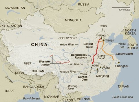 South-north water transfer scheme, China map