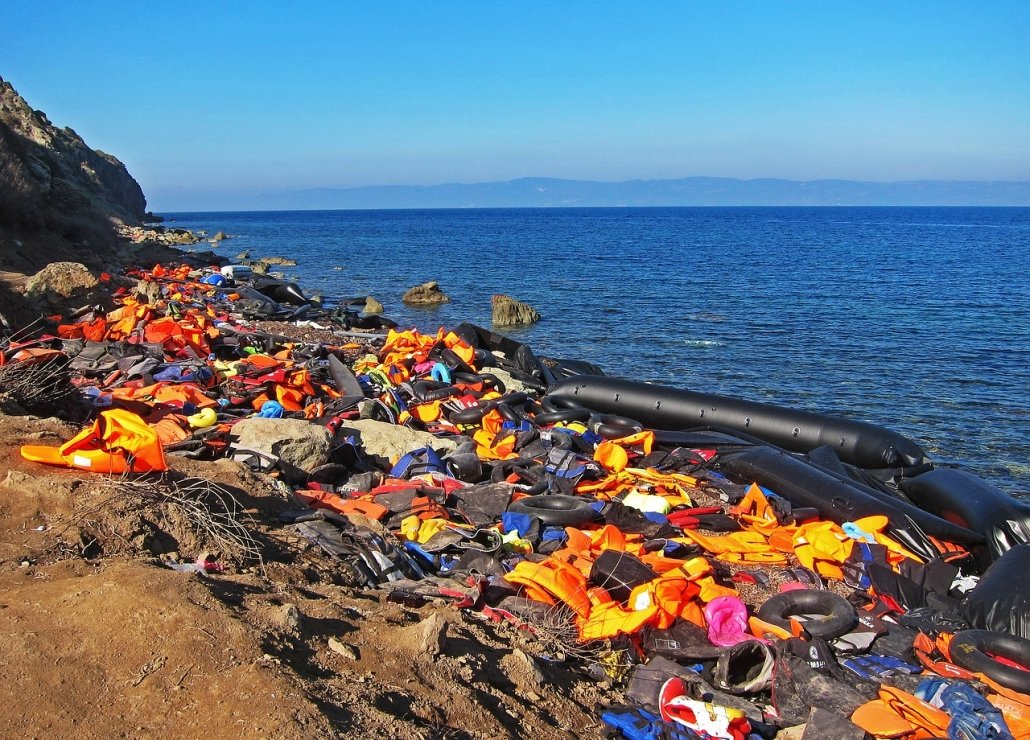 Life jackets and boats left behind by Syrian refugees