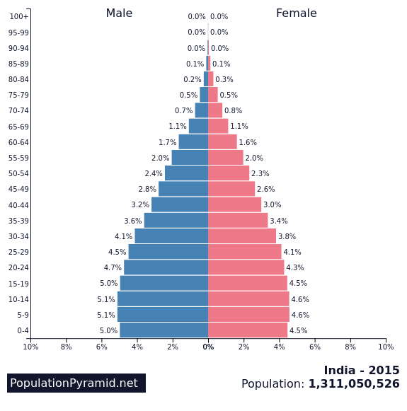 Population pyramid for India