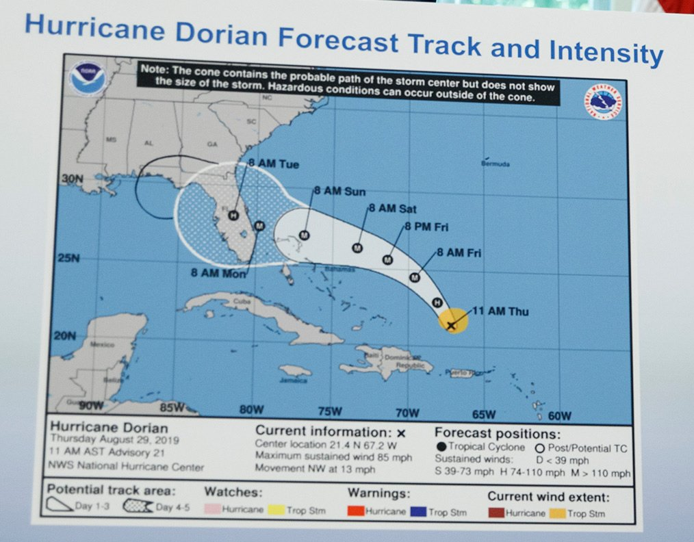 An image of Hurricane Dorian edited using a Sharpie