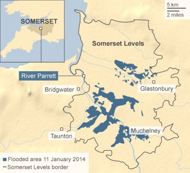 Somerset Levels Flood Map