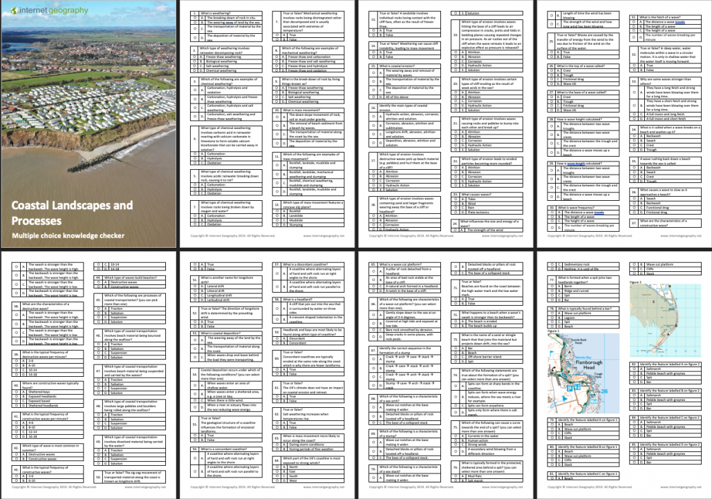 Edexcel B Coastal Landscapes and Processes Multiple Choice Booklet
