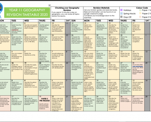 GCSE Geography Revision Timetable