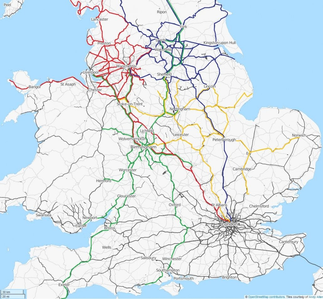 Rail network covering much of England and Wales