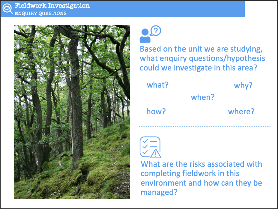 Identify enquiry questions and risks associated with the deciduous forest