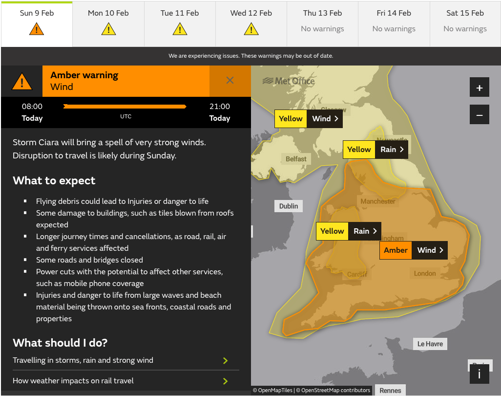 Met Office Amber Wind Warning