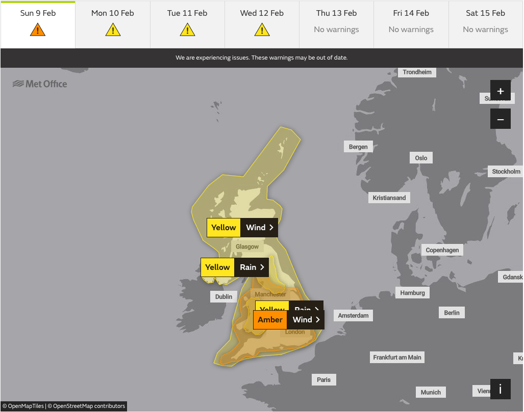 Met Office warnings for Storm Ciara