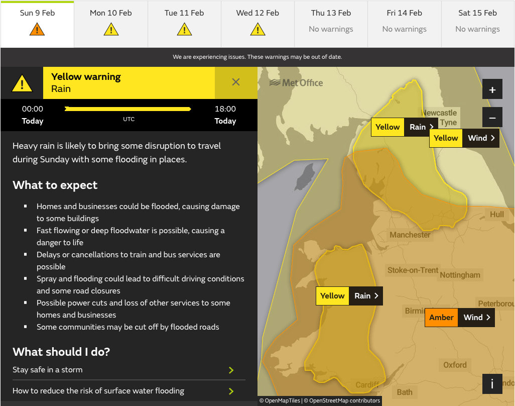 Met Office Yellow Rain Warning