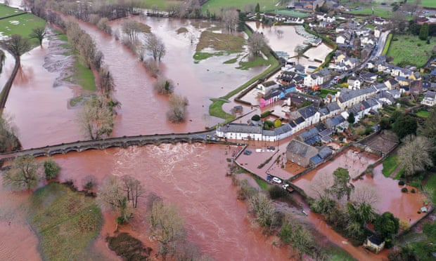 Flooding in the village of Crickhowell in south Wales