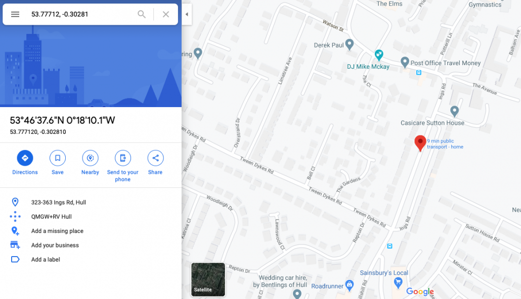 Searching by latitude and longitude in Google Maps