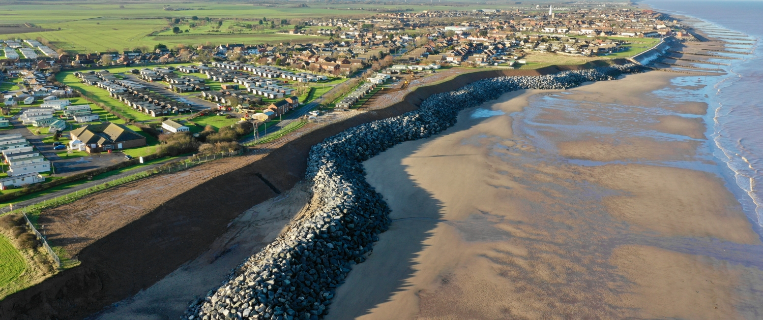 Completed coastal defences at Withernsea