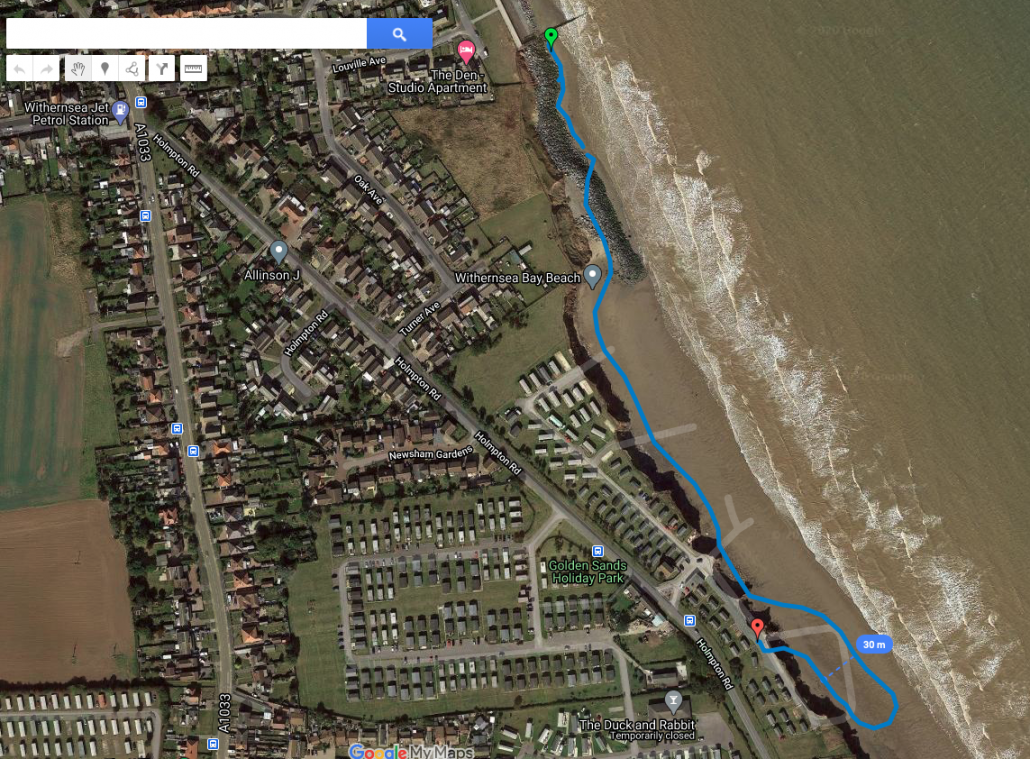 GPS outline of the new defences at Withernsea