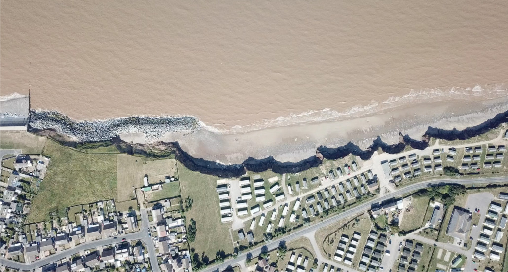 Impact of erosion down drift of defences view from above