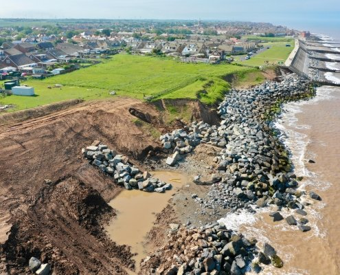Installing rock armour at Withernsea