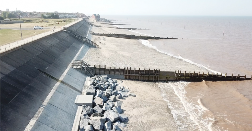 Sea wall and groynes at Withernsea