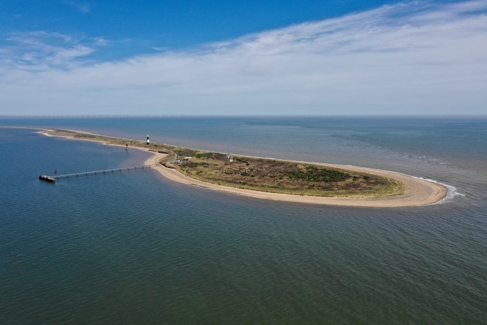 Aerial view of Spurn Point from the mouth of the Humber Estuary