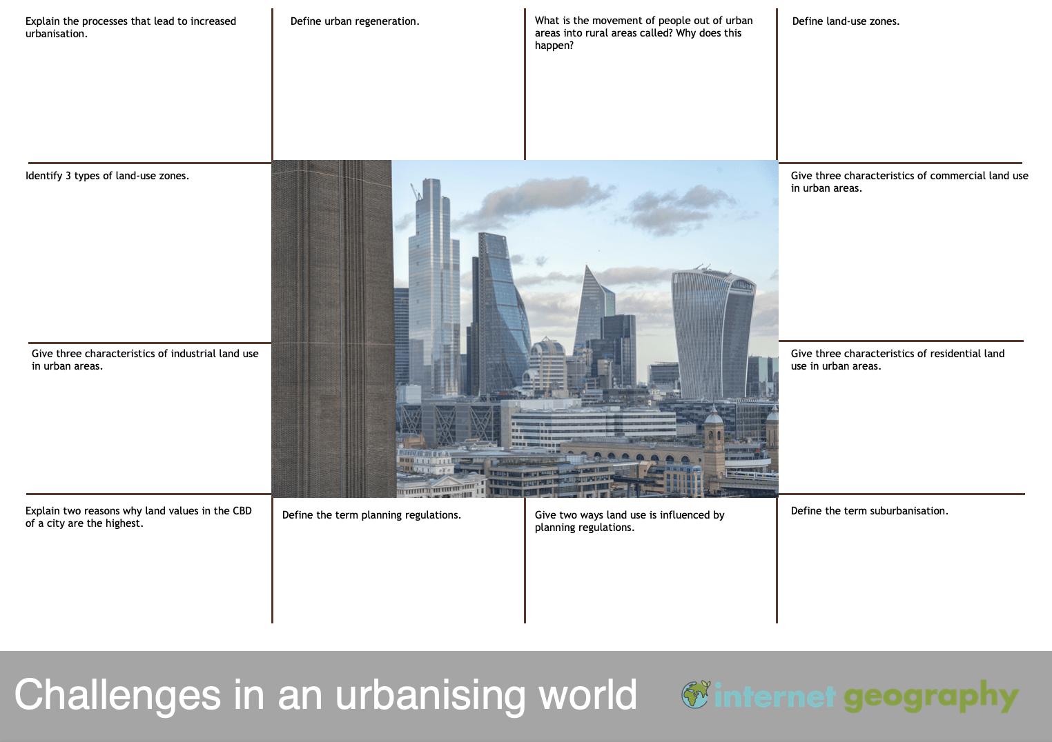 Challenges in an urbanising world revision mat 2 edexcel b