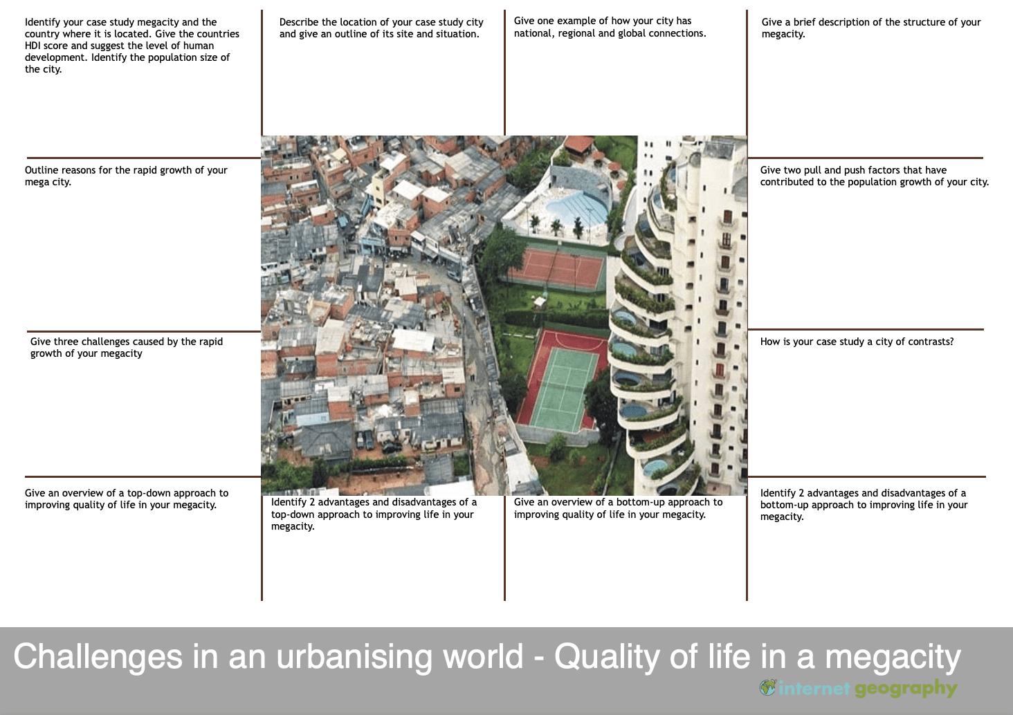 Challenges in an urbanising world revision mat 3 edexcel b