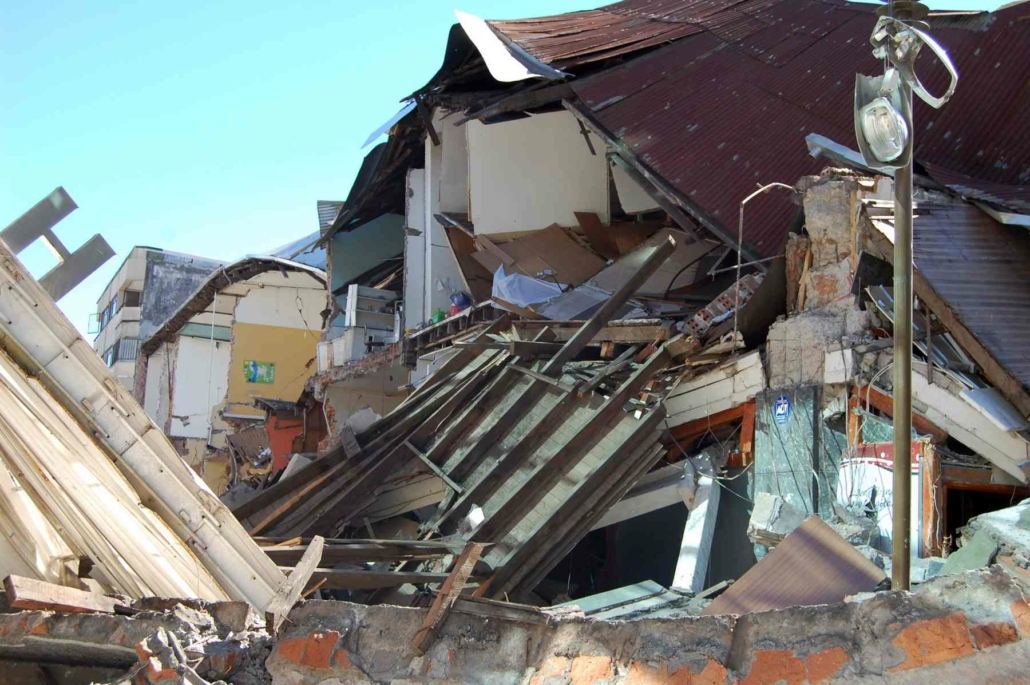 Damage done to houses in Concepcion city, Chile by the 2010 magnitude 8.8 earthquake.