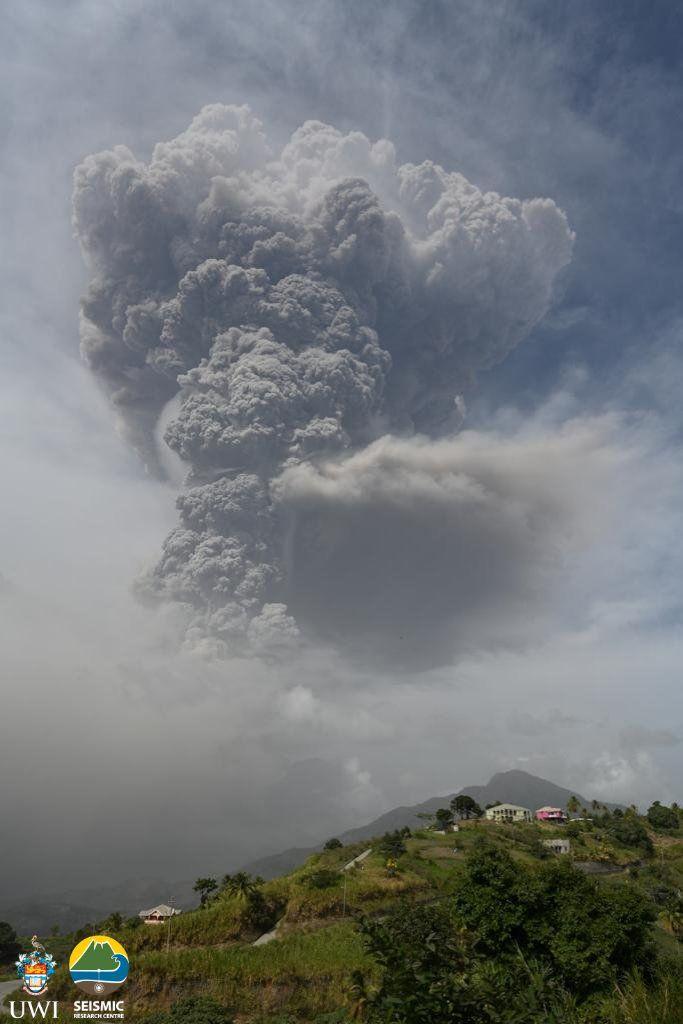 The eruption of La Soufriere volcano Photograph: UWI Seismic Research Centre